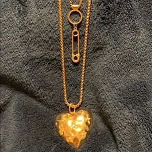 Layered Heart and Safety Pin Gold Tone Necklace